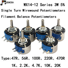 10PCS DIY HIFI Single Turn Wirewound Potentiometers WX14 12 3W 47R 56R 100R 220R 470R 1K 2.2K 4.7K 10K 20K 5% Filament Balance