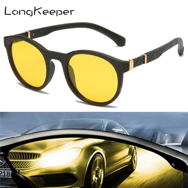 LongKeeper Night Vision Driving Sunglasses Women Anti Glare Driver Yellow Lens Glasses Round Polarized Men Gafas De Sol UV400