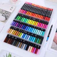 100 cores pintura caneta aquarela marcador de arte dupla-ponta escova água cores desenho canetas pincel caneta material escolar artigos de papelaria