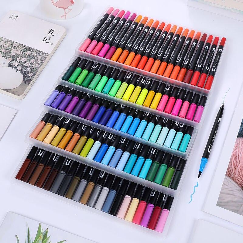 100 couleurs peinture aquarelle stylo Art marqueur Double-pointe brosse eau couleurs dessin stylos pinceau stylo fournitures scolaires papeterie