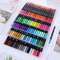 100 farben Malerei Aquarell Stift Art Marker Doppel Spitze Pinsel Wasser Farben Zeichnung Stifte Pinsel Stift Schule Liefert Schreibwaren auf