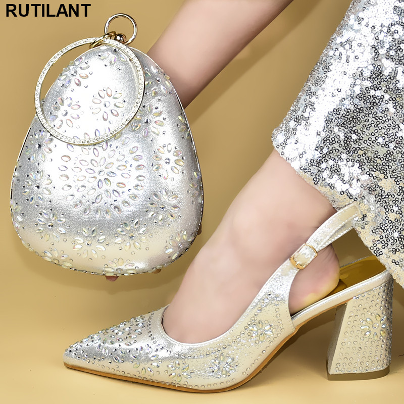 New Shoe And Matching Bag For Nigeria Party Designer Shoes Women Luxury 2019 Rhinestone Wedding Shoes Plus Size Shoes Women Heel