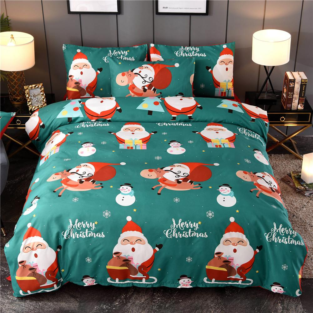 Christmas Bed Quilt Cover Sheets Pillowcase Bedding Set Santa Claus Pattern Pillow Cover For Family Hotel Supplies