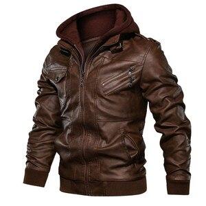 Image 3 - Herren leder jacke, Pu leder jacke mit abnehmbarer kapuze für motorrad, mit schrägen zipper für männer mantel große größe