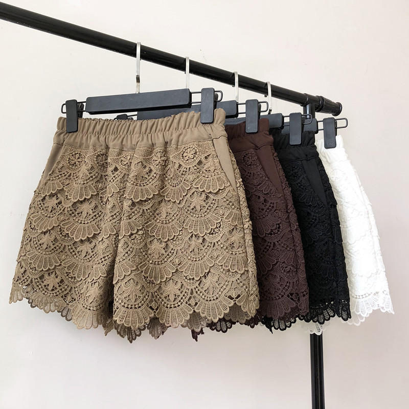 Lace Shorts Women Spring Autumn High Waist Shorts Elastic Wide Leg Short Shorts Black / White Ladies Sexy Short Feminino Q2248