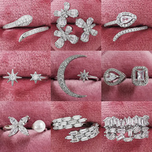 925-Sterling-Silver Ring-Finger-Moon Cz-Ring Women Jewelry Star Unique Fashion Pure