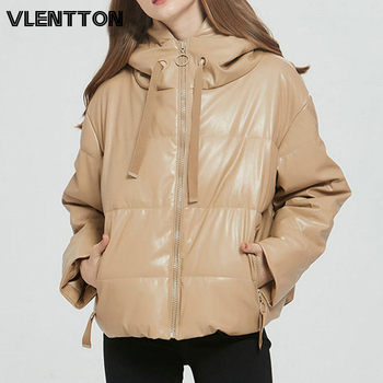 Winter Women Thick Warm Oversized PU Faux Leather Jackets Coat Solid Zipper Hooded Overcoat Casual Parkas Outwear Female Tops 2020 pu leather parkas women fashion hooded faux leather coats women elegant zipper cotton jackets female ladies clothing c20