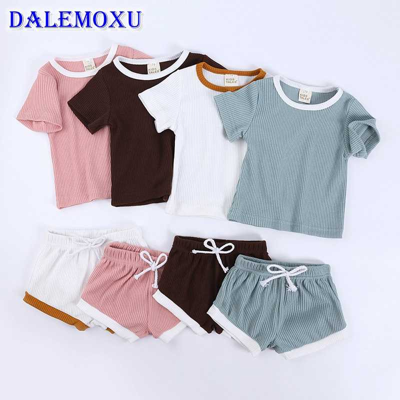 DALEMOXU Baby Girls Clothes Summer 2020 Toddler Infant Solid Color Stripe Short Sleeve Shorts Pants 2PCS Baby Girl Outfit Set