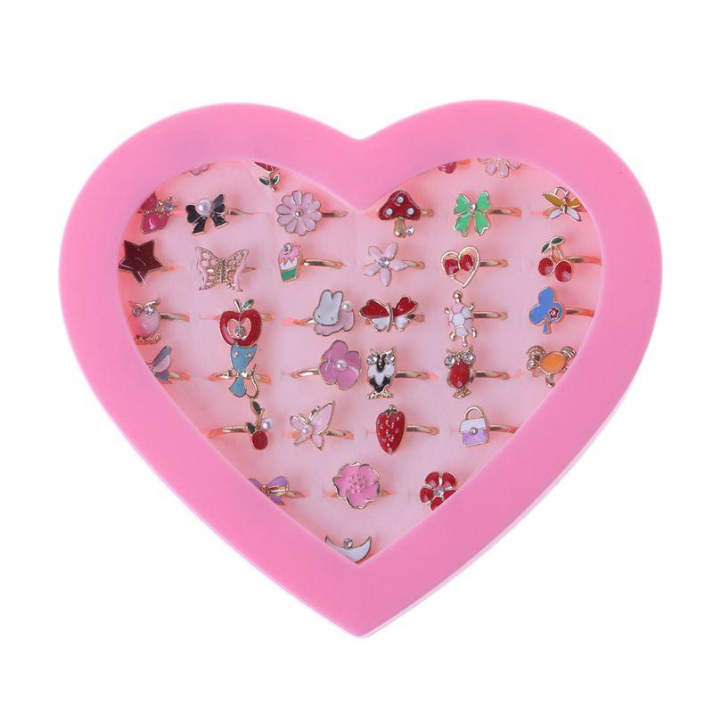 36Pcs/Set Fancy Adjustable Cartoon Rings Party Favors Kids Girls Action Figures Toy