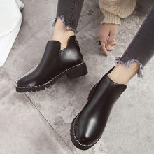 Women's Ankle Boots Winter Fashion Round Toe Solid Color Boots Square Heel Casual Short Booties botines mujer 2019 invierno(China)