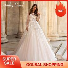 אשלי קרול אונליין חתונת שמלת 2020 פאף שרוול רומנטי חרוזים אפליקציות כפתור הכלה שמלות חוף Boho Vestido דה Noiva