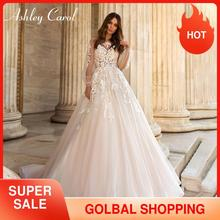 Ashley Carol Chữ A Áo Cưới 2020 Tay Phồng Lãng Mạn Đính Hạt Appliques Nút Cô Dâu Váy Bầu Đi Biển Boho Đầm Vestido De Noiva