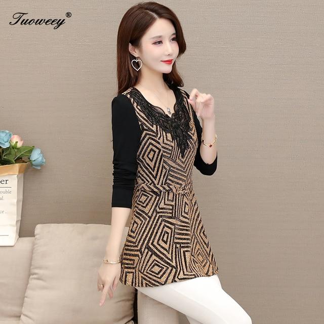 plus size Women vintage Blouses hollow out Fashion autumn long Sleeve Shirt Female V neck tops camisas mujer elegant 3