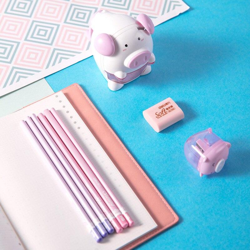 Deli Stationery 68900 Pig Students Scriptum Set Children Learning Supplies Pencil Sharpener Rubber