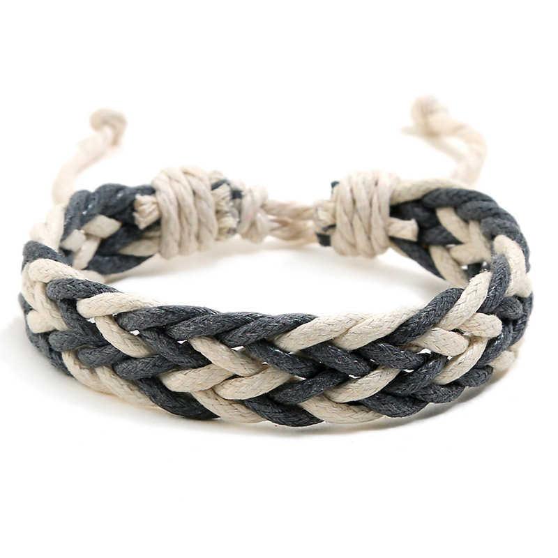 NIUYITID ręcznie pleciony wosk bransoletka sznurkowa dla kobiet mężczyzn regulowana lina łańcuch męski prezent na boże narodzenie