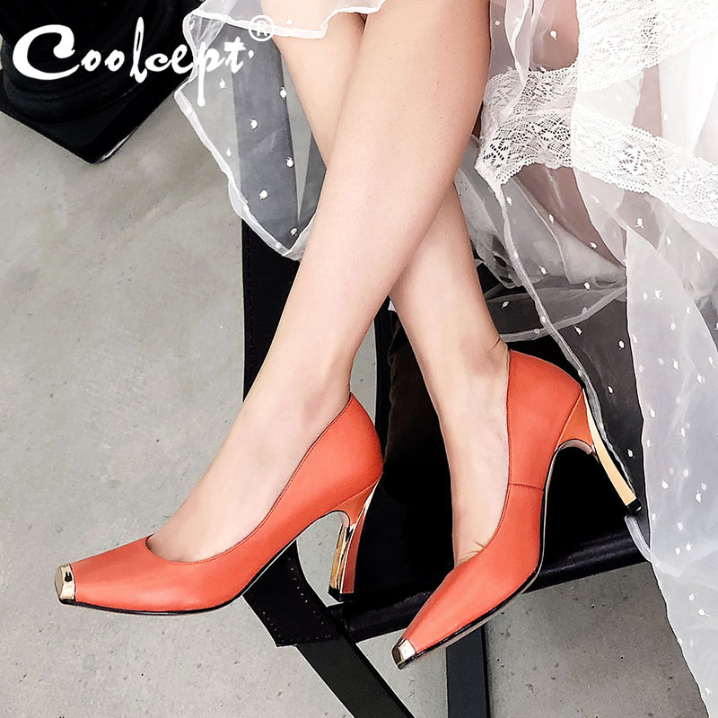 Coolcept Women Pumps Shoes Fashion Metal Square Head Thin High Heels Shoes Women High-Quality Real Leather Footwear Size 33-41