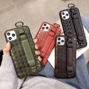 Nouvelle maille en cuir tressé étui de protection FHX-MG5 pour iPhone 7/8 Plus X XR XS MAX anneau de doigt boucle pour iPhone 11 11Pro MAX case