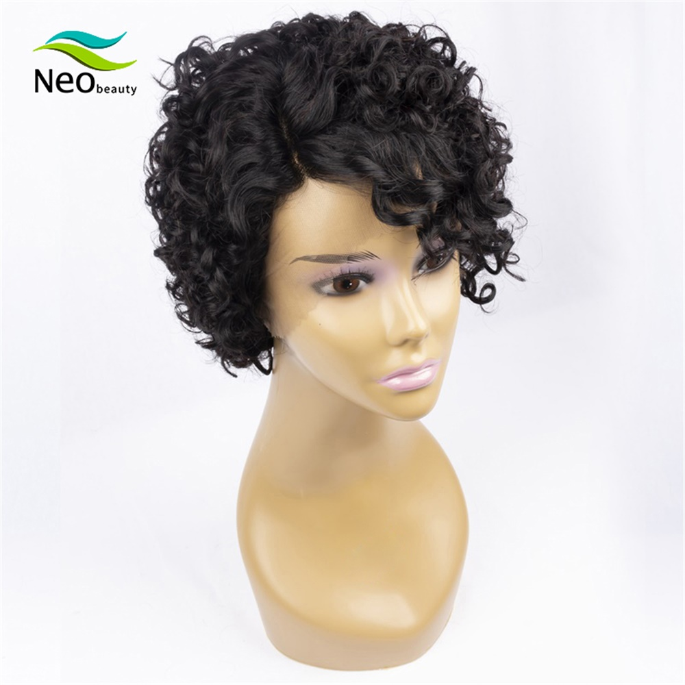 Cheap Wigs Short Curly Lace Front Human Hair Wigs Side Part Cheap Short Human Hair Wigs With Free Shipping
