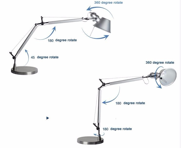 Archimedes aluminum table lamp standing desk light nordic creative art deco table lamp with the long arm - 6
