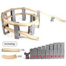 26 pçs de madeira faixas ferroviárias acessórios plástico espiral de madeira trem faixas com ponte piers brinquedos educativos para crianças presente