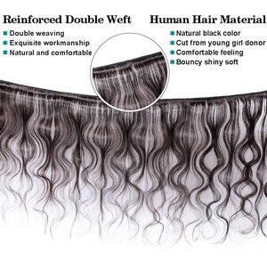 Image 2 - Bundle Onda Del corpo Con Chiusura 5x5 Chiusura Con Bundles Brasiliano Fasci Del Tessuto Dei Capelli Fasci di Capelli Umani Remy Extensions DA