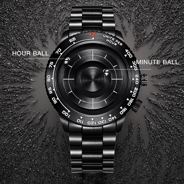 Magnetic ball Watch Unique Men's Quartz Wrist Watch Steel Man Watch Waterproof Shockproof Best selling Military Watch 2020 EOEO 1