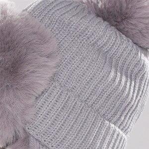 Image 5 - Xthree chapeaux dhiver pour femmes, chapeau chaud avec rabat doreille, couvre fourreau en fausse fourrure, avec Pom Pom