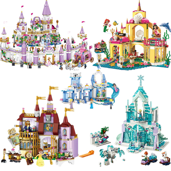 Building Blocks Friends New Elsa Anna Belle Ariel Moana Cinderella Ice Castle Bricks  Princess Girl Christmas Toys new sluban building bricks 815pcs blocks princess cinderella sapphire castle compatible friends education diy kit gift toys girl