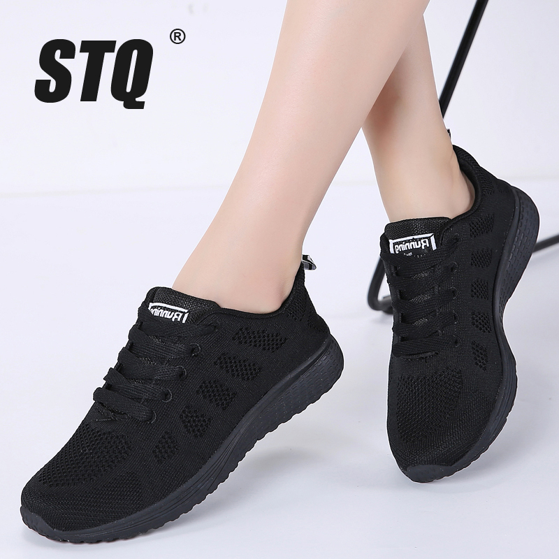 STQ Ladies Shoes Sneakers Autumn Breathable Casual Women Mesh Lace-Up Female A08