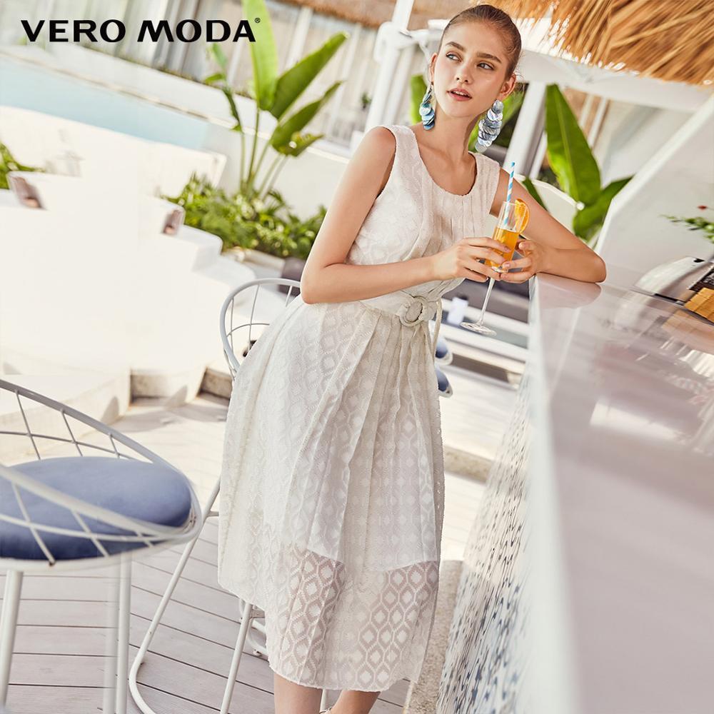 Vero Moda Women's 3D Embroidery Pleated Back Zip High-rise Dress | 31927A529