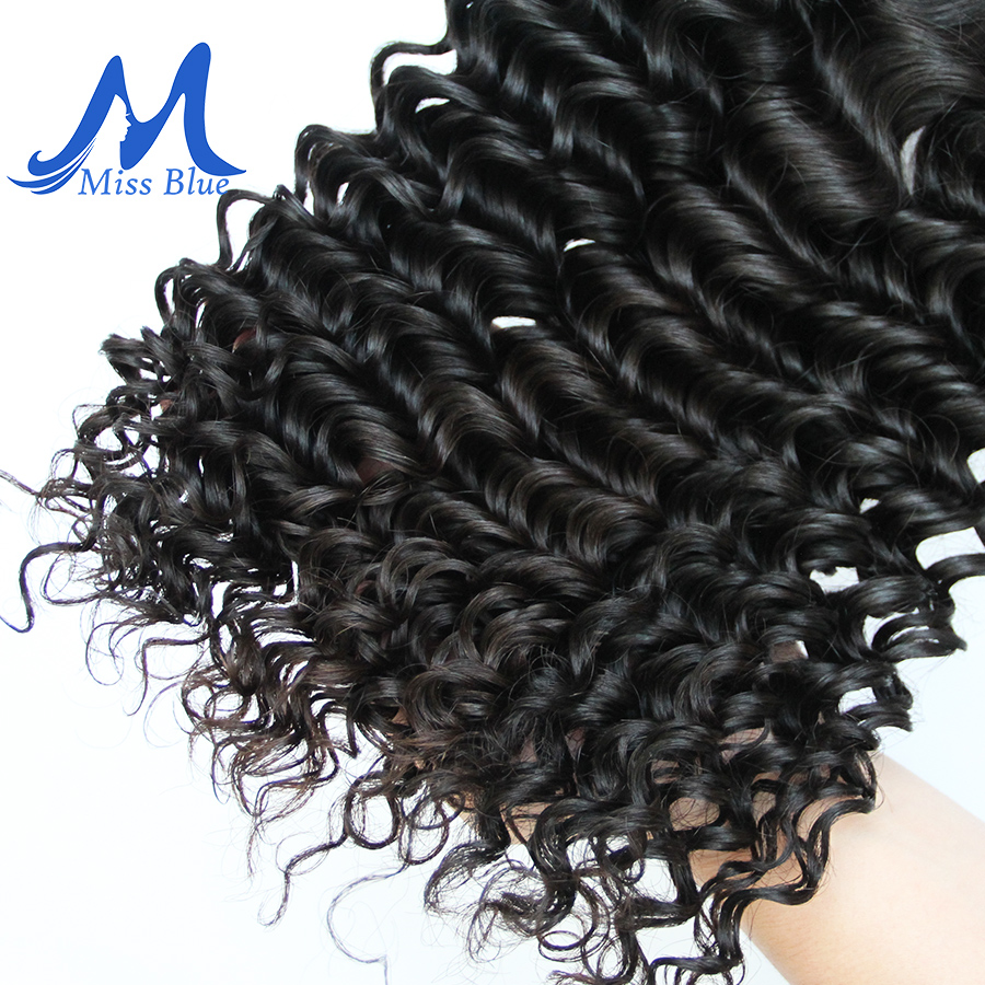 Missblue Deep Wave Malaysian Hair Weave Bundles 1 3 4 Pieces 100% Human Hair Bundles Natural Color Remy Hair Extensions 8