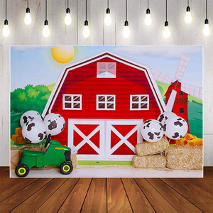 Image 2 - Mehofond Photography Background Farm Red Barn Rustic Animals Hay Baby Birthday Party Decor Portrait Backdrop Photo Studio Props