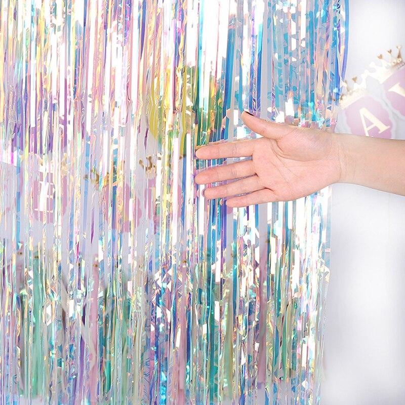 Festa de solteira pano de fundo cortinas a laser brilho ouro enfeites franja folha cortina aniversário decoração casamento adulto