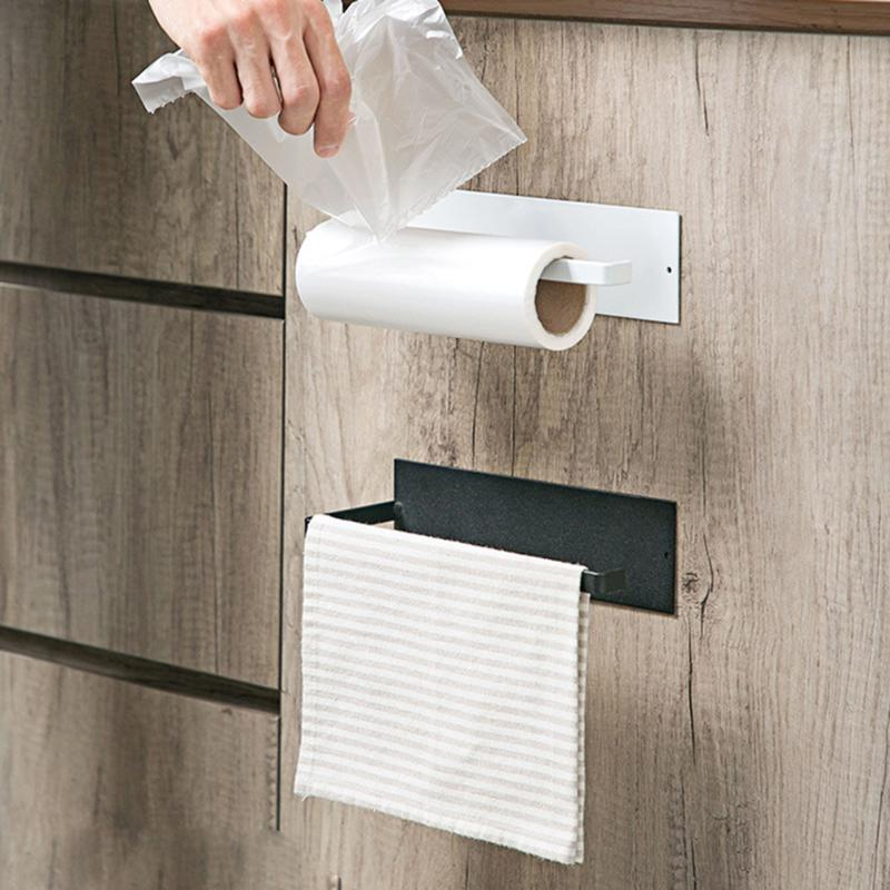 Durable Carbon Steel Roll Paper Rack Practical Wall-mounted Towel Storage Shelf No Punching Bathroom Toilet Tissue Holder