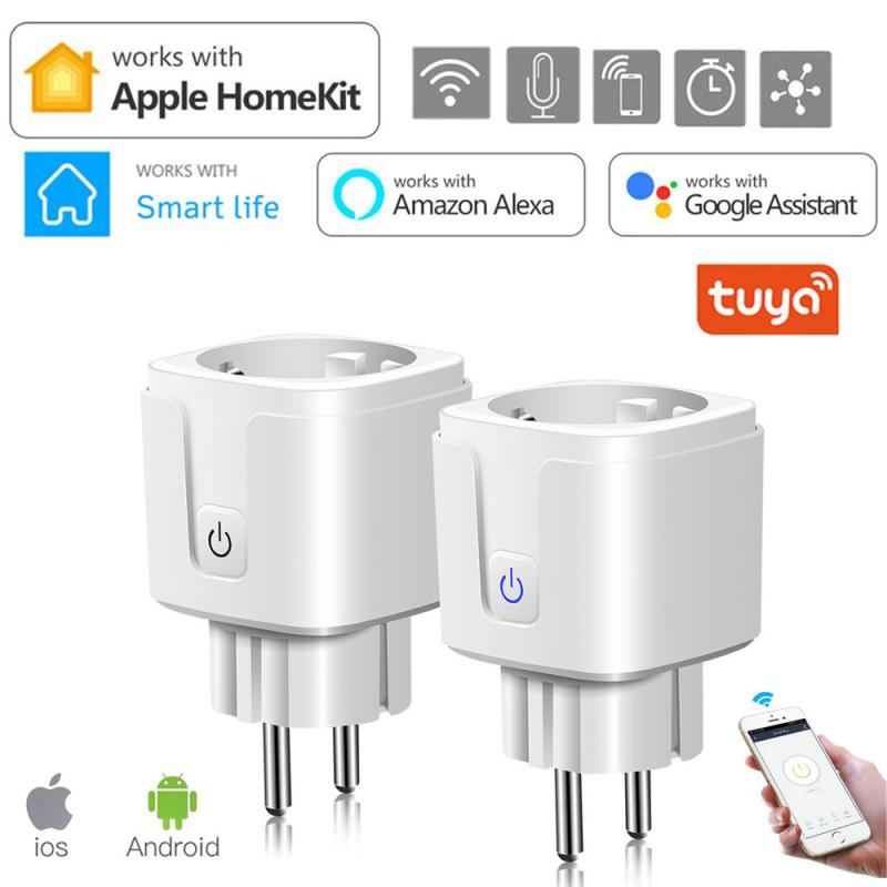 Смарт-разъем Wi-Fi розетка 16A ЕС Мощность монитор Функция времени гнездо работает с Amazon Alexa Google Home для Apple HomeKit/приложение Smart Life