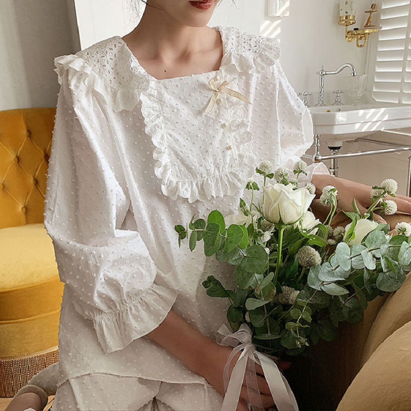 Sweet Women's White Litter Star Soft Pure Cotton Pajamas Sets Female Loose Sleepwear Suits  Plus Size Pyjamas
