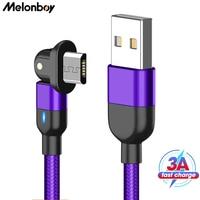Melonboy 180 Rotatie Micro Usb Kabel 3A Oplaadkabel Voor Xiaomi Samsung S7 Htc Lg Huawei Usb Datakabel Snelle oplaadkabel