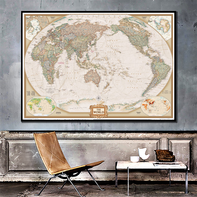 World Map 150x100cm Non Woven Classic Map With Important Cities In Each Country For Trip