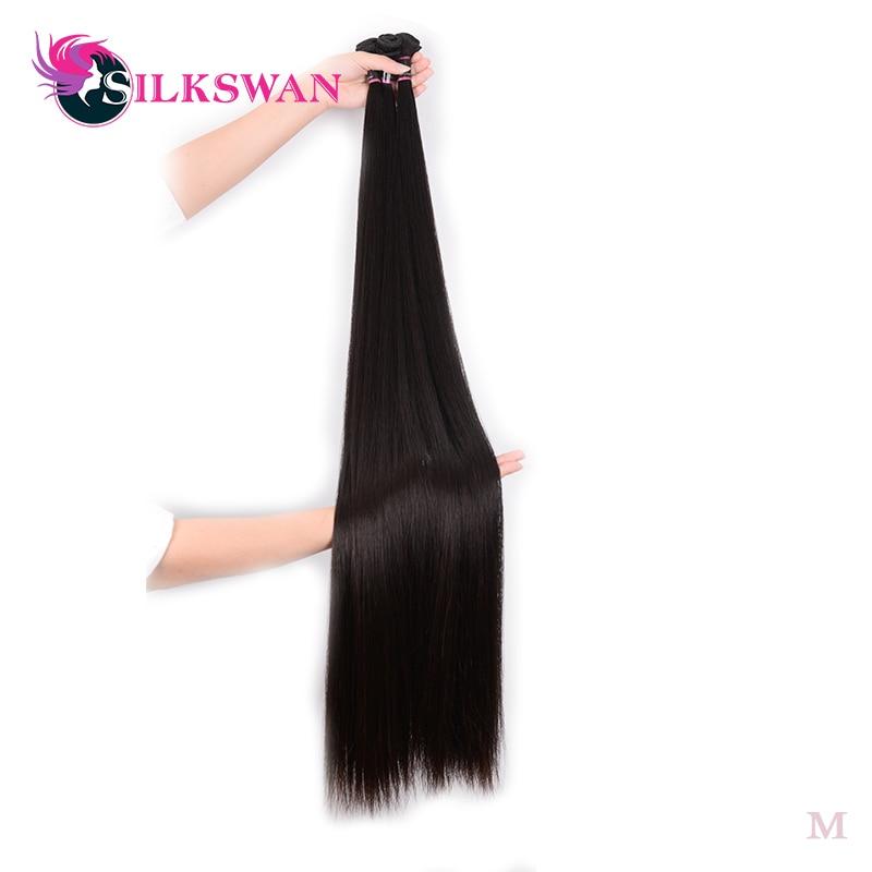 Silkswan-extensiones de cabello humano brasileño Remy para mujer, mechones de cabello negro Natural, 34, 36, 38, 40 y 50 pulgadas, 1/3/4 uds.