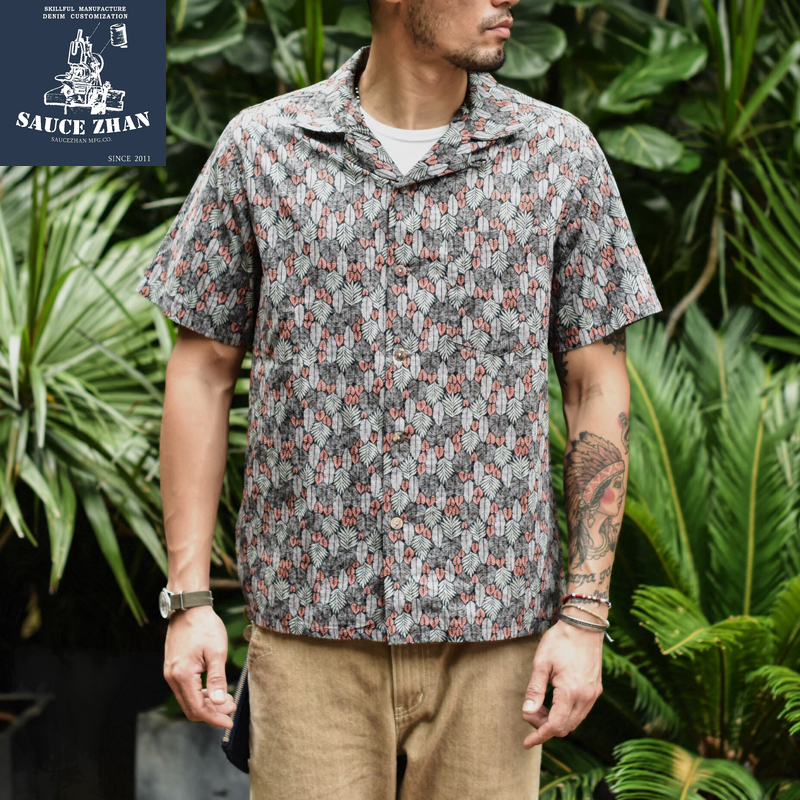SauceZhan Mens Hawaiian Shirt Men's Casual Shirt Japanese Fabric Printed Beach Men's Short Sleeve Shirts Branded Clothing(China)