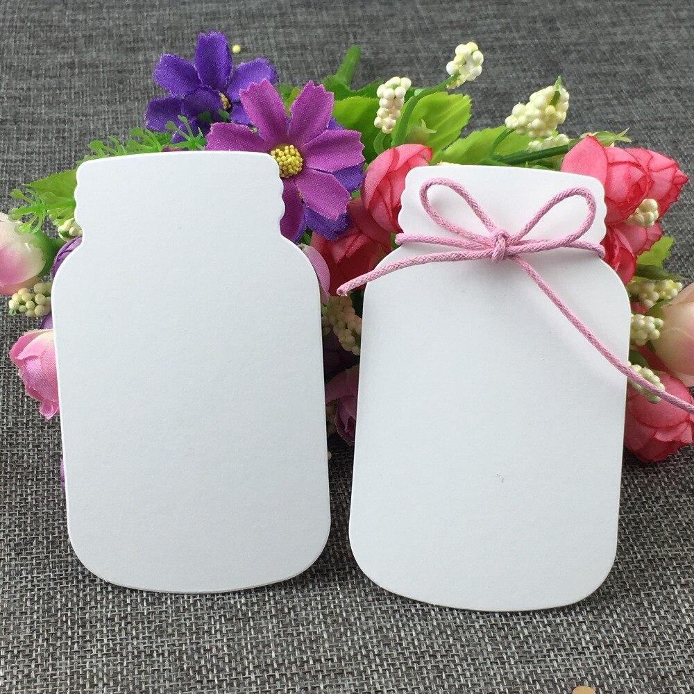 400 Pcs/lot mignon 10x6cm bouteille forme papier blanc carte pour mariage faveur carte-cadeau/fleur/fête/bricolage carte décorer