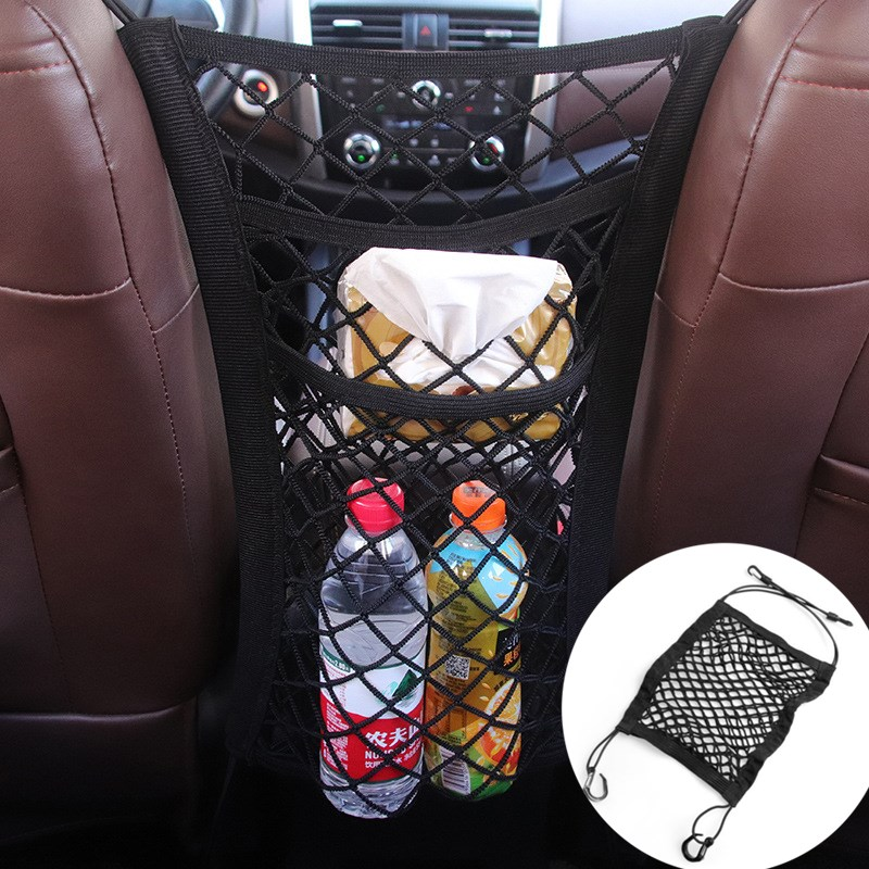Strong Elastic Car Mesh Net Bag Between Car Organizer Seat Front Storage Bag Luggage Holder Pocket For Car Stowing Tidying
