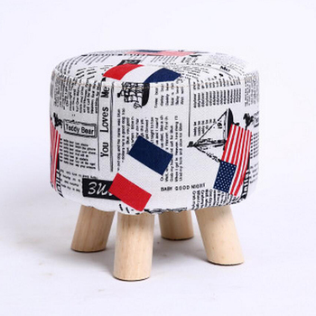28x18cm Round Linen Fabric Footstool Cover Wooden Stool Slipcover Flag Footstool Cover Replacement Round Footstools Cover image
