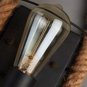 Image 3 - حبل القنب لوفت نمط الجدار مصباح Vintage الحديد الصناعية السرير ضوء تركيبات الرجعية للمنزل الإنارات بار مقهى غرفة المعيشة E27