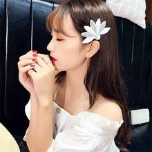 FYUAN Korea Style White Flower Hairpins for Women Bijoux Beautiful Geometric Crystal Pearl Wedding Hair Accessories Jewelry Gift