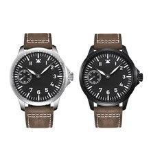 Luxury brand Debert45mm sapphire glass mens manual mechanical watch ST3600, 6497 movement 316L stainless steel case luminous