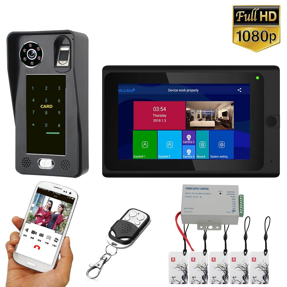 7 дюймов Wifi беспроводной отпечаток пальца IC карта видео телефон двери дверной звонок Домофон Система с проводной AHD 1080P дверной контроль доступа S
