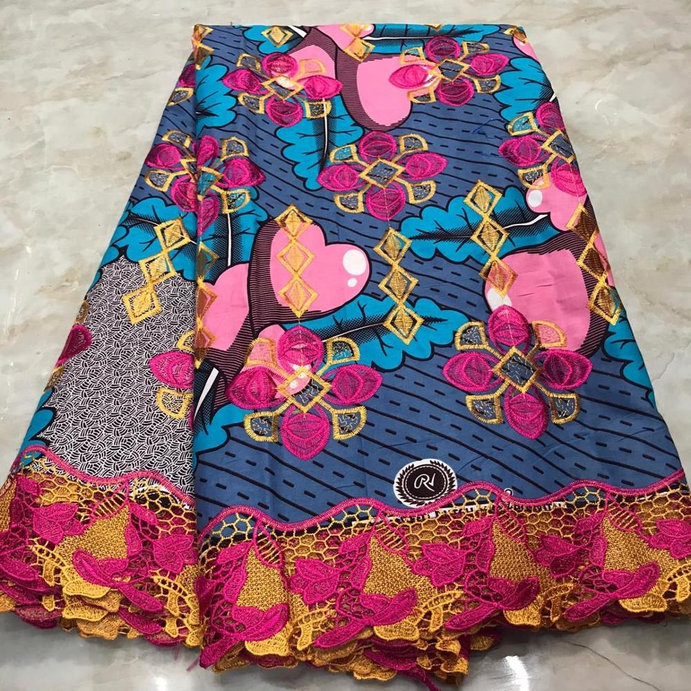 2020 New Arrival High Quality Ankara Lace Wax 100% Cotton 6 Yards Nigerian Holland Wax With Lace Embroidery For Dress Batik