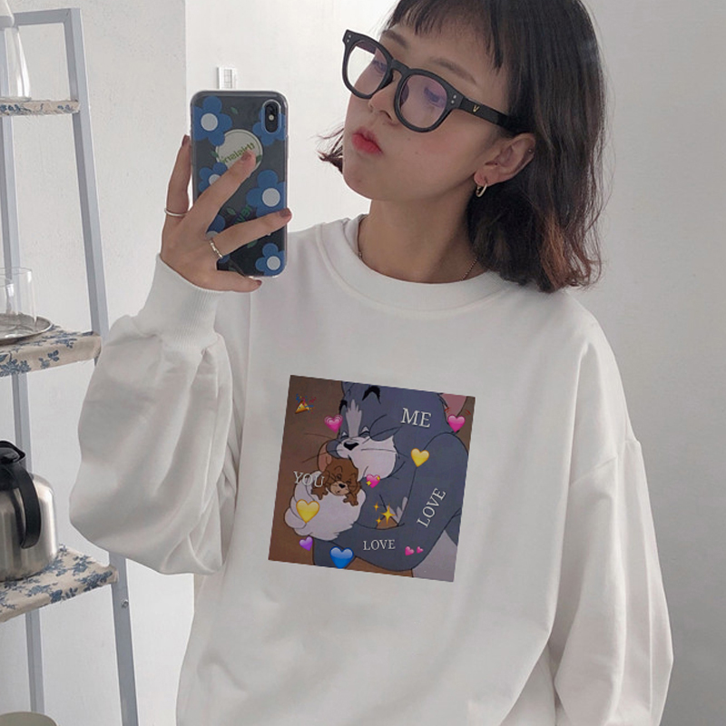Winter New Ulzzang Harajuku Kawaii TOM Cat And Jerry Mouse Print O-neck Sweatshirt Fashion Loose Hooded Casual Female Sweatshirt