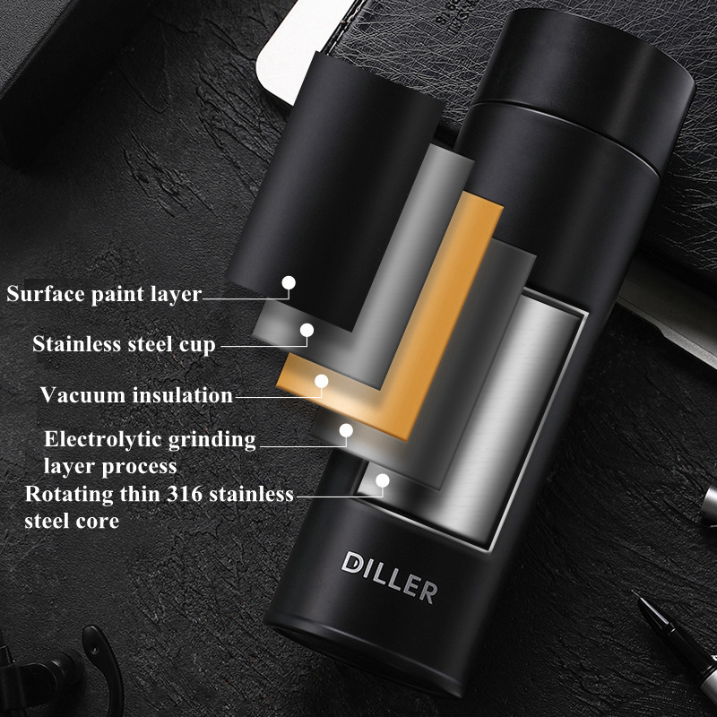 DILLER MLH8905 thermos double-layer 316 stainless steel thermos smart display temperature mug coffee tea milk travel cup kettle
